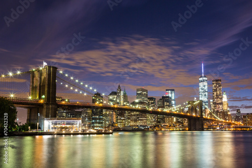 Brooklyn Bridge and Downtown Skyscrapers in New York at Dusk - 70432328