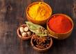 Spices. Curry, paprika, nutmeg, cardamom, bay leaf, anis.