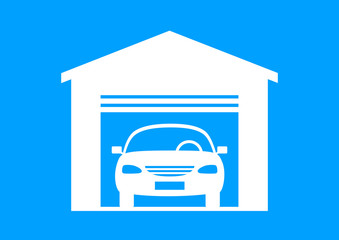 White car icon on blue background