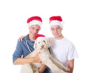 Teenager weihnachtlich mit Hund