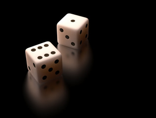 White dice with clipping path.