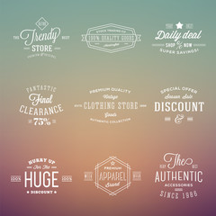Retro Typography Vector Labels Badges Set on Abstract Hipster