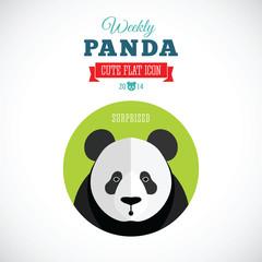 Weekly Panda Cute Flat Animal Icon - Surprised