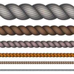 Vector modern rope set on white background.