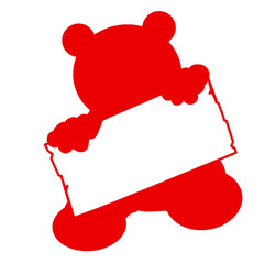 bs26 - BearSign - baby bear with blank signpost in red - g1744