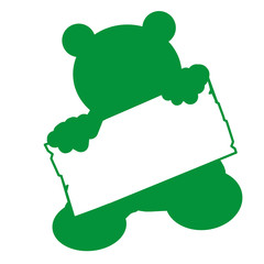 bs25 - BearSign - baby bear with blank signpost in green - g1743