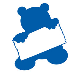 bs24 - BearSign - baby bear with blank signpost in blau - g1742