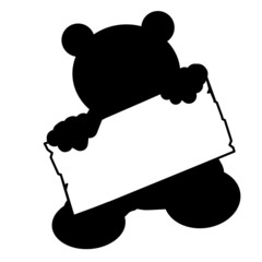 bs22 - BearSign - baby bear with blank signpost in black - g1740