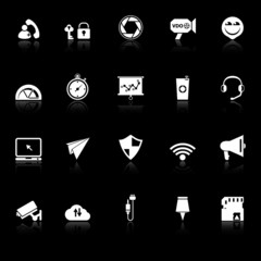 Smart phone screen icons with reflect on black background