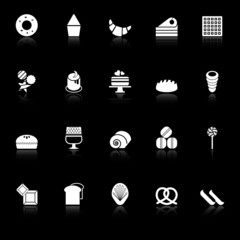 Variety bakery icons with reflect on black background