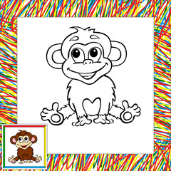 Funny cartoon monkey coloring book