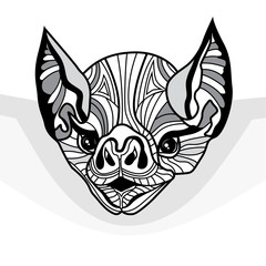 Bat head vector animal illustration for t-shirt