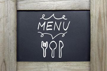 menu sign on blackboard