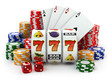 Casino. Slot machine with jackpot, dice, cards and chips. - 70435579