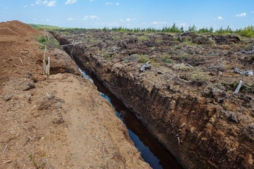 Peat extraction in a field