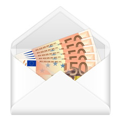 envelope and fifty euro banknotes