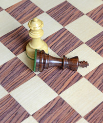 Pieces on Chess Wooden Board