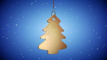 4K VID - Golden Christmas Tree Tag - ray-traced