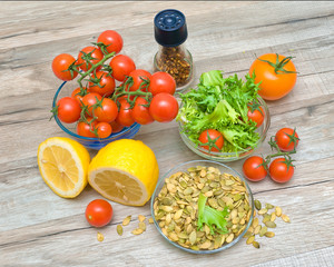 ingredients for making vegetable salad