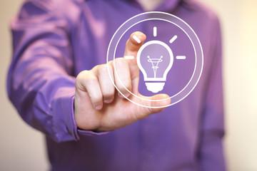 Button idea bulb business businessman