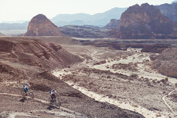 two mountain bikers in the desert
