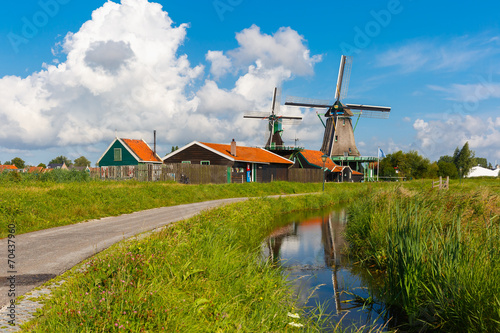 Foto op Aluminium Amsterdam Windmills in Zaanse Schans, Holland, Netherlands