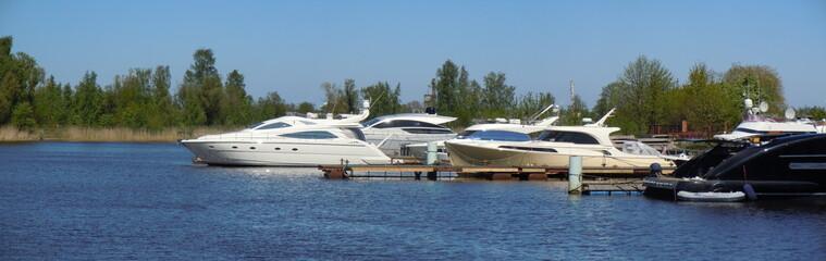 Moored pleasure boats