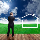 Geschäftsmann Plan für mit Einfamilienhaus-Siedlung
