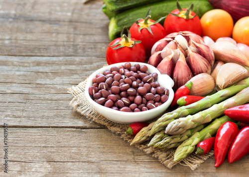 canvas print picture Azuki beans and vegetables
