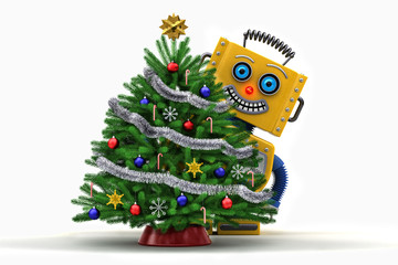 Toy robot happy with christmas tree