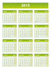 2015 green french calendar