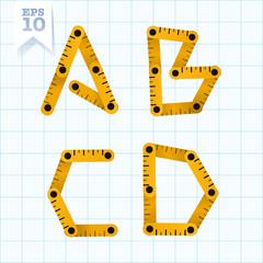 Measuring folding ruler flat  vector abc