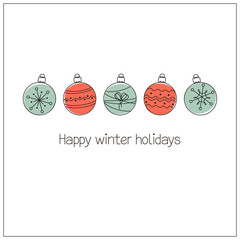 Greeting card with Christmas balls in doodle style