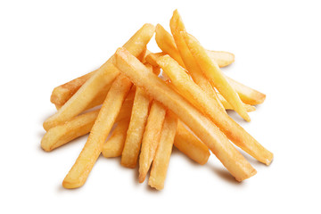 A pile of french fries isolated on white