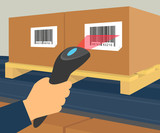 Barcode scanning at the warehouse - 70441787