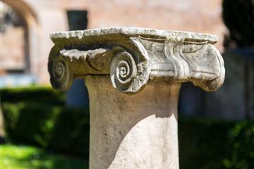 Ancient Roman column in the ruins of Diocletian Baths, Rome