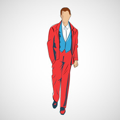 Vector sketch man in fashion clothes eps