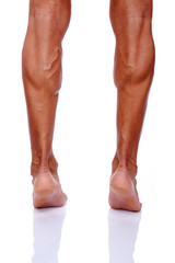 Rearview of muscular male legs, isolated on white background