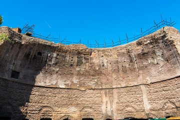 The ruins of the Baths of Diocletian in Rome