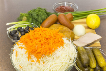 shredded cabbage with carrots