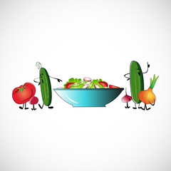 Board of vegetables for salads. Vector design