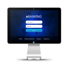 monitor with ebanking login page  isolated over white