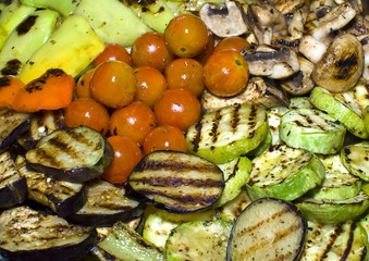 Grilled vegetables: zucchini, mushrooms, eggplant, tomato and pe