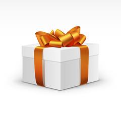 White Gift Box with Orange Ribbon Isolated