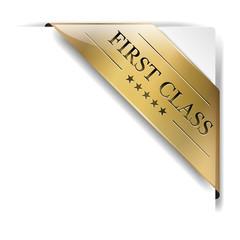 goldene banderole First Class auf weiß