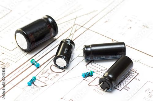 Several capacitors and resistors - 70443333
