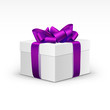 White Gift Box with Purple Violet Ribbon Isolated