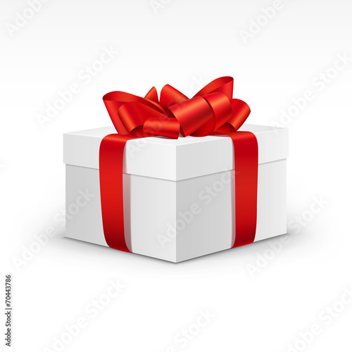 Zdjęcia na płótnie, fototapety, obrazy : White Gift Box with Bright Red Ribbon Isolated