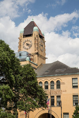 Old Brown Brick Building with Clock Tower