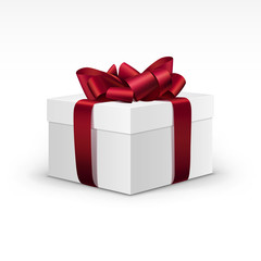 White Gift Box with Red Burgundy Ribbon Isolated